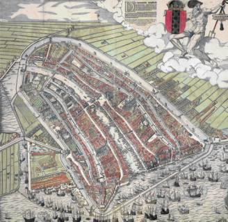 Amsterdam zoals het er een groot deel van de 15e en 16e eeuw uitzag.