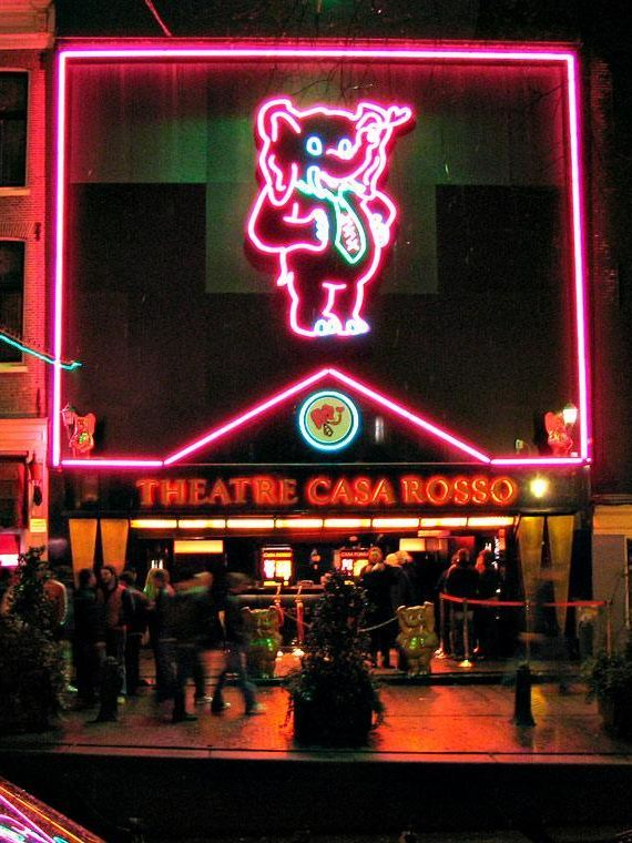 Moulin Rouge Amsterdam Red Light District. Adult theatre Casa Rosso ...