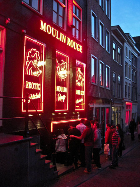 Moulin Rouge Amsterdam Red Light District. Adult night club Moulin Rouge ...