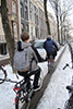 Herengracht biking in snow