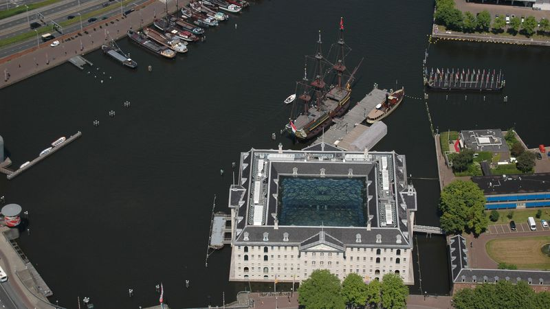 Aerial photo of  the ship and building of the Dutch Maritime Museum in Amsterdam