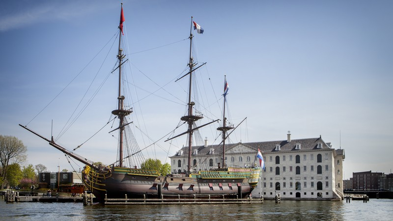 Ship and building of the Dutch Maritime Museum in Amsterdam