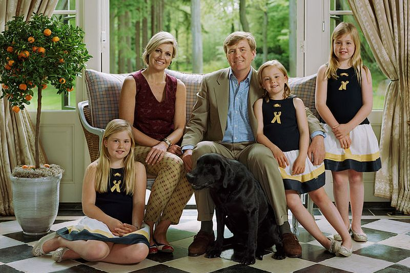 King Willem-Alexander and the Dutch royal family sitting on couch