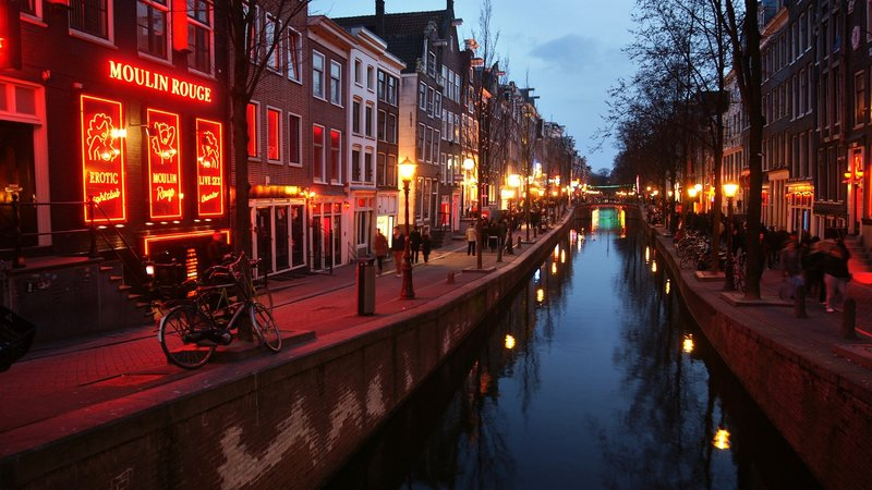 Amsterdam red light district during the evening canal view